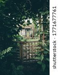 Small photo of Vertical shot of a cozy mysterious wooden wicket in deforused foreground in a corridor of plants and greenery with a small countryside summer dacha house door visible aloof at the distance in a forest