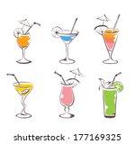 set    cocktail | Shutterstock .eps vector #177169325