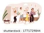 smiling family dancing having... | Shutterstock .eps vector #1771729844