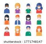 people in medical mask set of... | Shutterstock .eps vector #1771748147