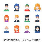 people in medical mask set of... | Shutterstock .eps vector #1771749854
