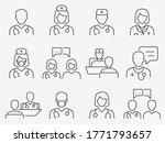 doctor and nurse line icons set.... | Shutterstock .eps vector #1771793657