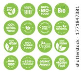 organic food labels. fresh eco... | Shutterstock .eps vector #1771847381