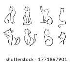 Cats Drawing Set. Cat Doodles...