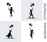 set of kids holds balloons | Shutterstock .eps vector #1771926734