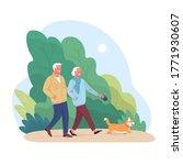 elderly couple spends time... | Shutterstock .eps vector #1771930607