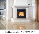 pellet fire place alight and... | Shutterstock . vector #177194117