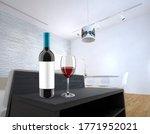red wine  liquor bottle and... | Shutterstock . vector #1771952021