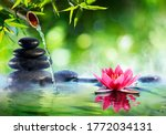 Spa Stones And Waterlily With...