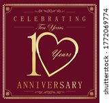 anniversary gold and dark red... | Shutterstock . vector #1772069774