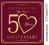 anniversary gold and dark red... | Shutterstock . vector #1772069777