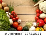 vegetable and wooden empty... | Shutterstock . vector #177210131