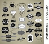 retro vintage labels collection ... | Shutterstock . vector #177212354