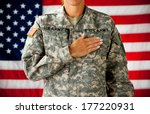 soldier  woman pledging... | Shutterstock . vector #177220931