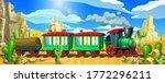 green locomotive in the desert. ...   Shutterstock .eps vector #1772296211