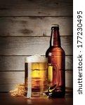 mug of lager beer with a bottle ... | Shutterstock . vector #177230495