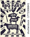 bbq party craft paper poster...   Shutterstock .eps vector #1772308841