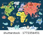 map of the world with cute... | Shutterstock .eps vector #1772356451