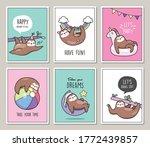 set of cute sloths poster card... | Shutterstock .eps vector #1772439857