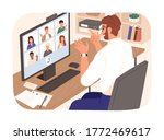 bearded smiling guy talking... | Shutterstock .eps vector #1772469617