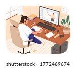 smiling female study online... | Shutterstock .eps vector #1772469674