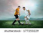 soccer players with ball in... | Shutterstock . vector #177253229