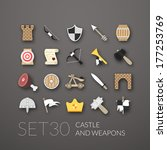 flat icons set 30   castle and...