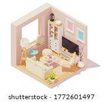 vector isometric living room... | Shutterstock .eps vector #1772601497