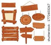 empty vintage cartoon wood sign ... | Shutterstock .eps vector #1772603267