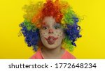 Child Girl Clown In Colorful...