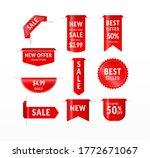 red ribbon labels. big sale ... | Shutterstock .eps vector #1772671067