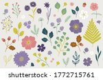 floral set with fern  wild rose ...   Shutterstock .eps vector #1772715761
