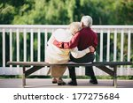 grandma and grandpa sitting on... | Shutterstock . vector #177275684