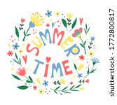summer time poster with flowers ... | Shutterstock .eps vector #1772800817