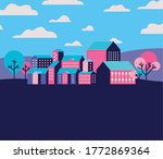 purple blue and pink city... | Shutterstock .eps vector #1772869364