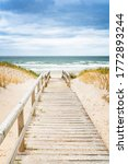 Wooden Footpath On Dune On Sylt....