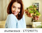 portrait of a cheerful woman at ... | Shutterstock . vector #177290771