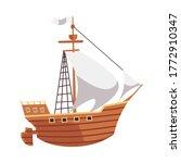 cartoon wooden ship for sea...