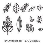 vector set of decorative flowers | Shutterstock .eps vector #177298037