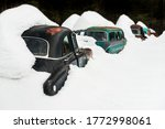 Classic Cars Covered With Snow