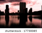 Office blocks in Orlando Florida in sunset - stock photo