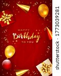 lettering happy birthday on red ... | Shutterstock . vector #1773039281