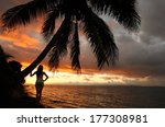 Silhouetted Young Woman By The...