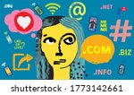 influencer girl surrounded by... | Shutterstock .eps vector #1773142661