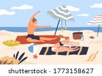 yoga couple at seashore. active ... | Shutterstock .eps vector #1773158627