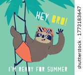 cute sloth illustration as... | Shutterstock .eps vector #1773183647