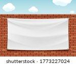 White Blank Banner On A Street...