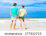 back view of couple holding...   Shutterstock . vector #177322715