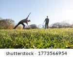 Two Boys Cartwheeling On Grass...