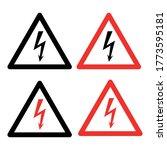 lightning sign in triangle  set ... | Shutterstock .eps vector #1773595181